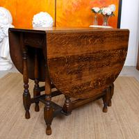 Oak Gateleg Dining Table & 4 Chairs Arts Crafts (17 of 17)