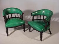 Fine Pair of Victorian Horseshoe Backed Library or Desk Chairs (2 of 5)