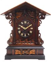 Rare Fusee Cuckoo Mantel Clock – German Black Forest Carved Bracket Clock (6 of 10)