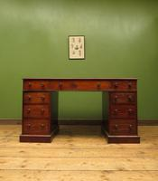 Antique Pedestal Partners Desk with Red Leather top and dummy drawers (2 of 13)