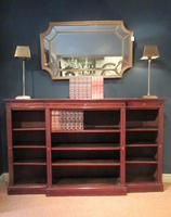 Antique Sheraton Inlaid Breakfront Open Bookcase