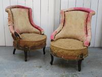Pair of Antique Fireside Slipper Chairs for re-upholsery (6 of 9)