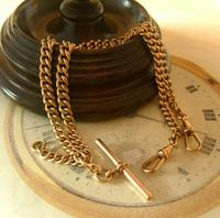 Antique Pocket Watch Chain 1890s Victorian Large 10ct Rose Rolled Gold Albert With T Bar (5 of 12)