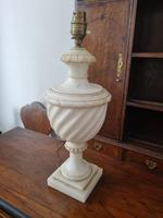 Carved White Marble Table Lamp Base