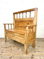 Vintage Pine Settle Bench with Storagev (8 of 10)