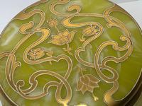 Antique Art Nouveau Loetz Art Glass Round Gilt Floral Trinket Box (30 of 33)