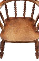 Elm and Beech Bow Armchair Elbow Desk Chair Victorian C1890 (2 of 8)