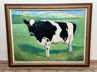 """20th Century Oil Painting Holstein Friesian Prized Cow """"Susan"""" Animal Portrait (2 of 20)"""