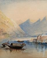 Large Lake in Italy - Beautiful 1930s Watercolour Landscape Painting (5 of 9)