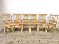 Set of Six Vintage Beech Chapel Chairs (2 of 19)