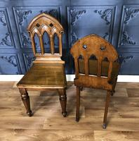 Pair of Victorian Gothic Style Hall Chairs (4 of 13)