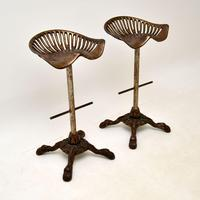 Pair of Antique Victorian Cast Iron Tractor Bar Stools (2 of 12)