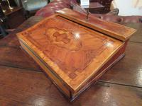 Fine Early Victorian Serpentine Shaped Inlaid Writing Slope