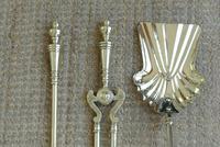Quality Victorian Brass Fire Irons Companion Set Tongs Poker Shovel