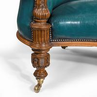 Victorian Carved Walnut Leathered Sofa (5 of 10)
