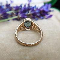 Vintage 9ct Yellow Gold Green Synthetic Spinel Dress Ring, Imitation Tourmaline (8 of 10)