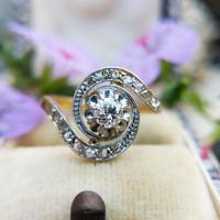 Antique French 18ct Gold Diamond Tourbillon Ring