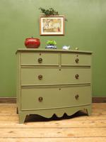 Antique Green Bow Fronted Chest of Drawers, Shabby Chic (17 of 18)