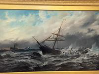 Huge 19th Century Seascape Oil Painting Sinking Ship Signalling Rescuers by Henry E Tozer (4 of 58)