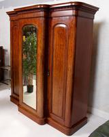 Triple Breakfront Wardrobe Mirrored Mahogany 19th Century (4 of 13)