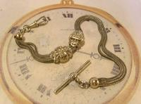 Antique Pocket Watch Chain 1890s Victorian Silver Nickel Fancy Albert With T Bar (2 of 12)