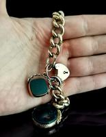 Antique 9ct Gold Curb Bracelet, Spinning Fobs (11 of 15)