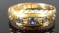 Late Victorian Diamond Blue Sapphire Dainty Gypsy Ring L 1/2