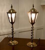 Pair of Arts & Crafts Barley Twist Brass Hall Table Lanterns (5 of 6)