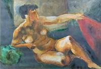 20th Century British School Reclining Nude Female Portrait - Watercolour & Body Wash (3 of 12)