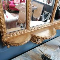Antique Regency style triple fronted Giltwood Mirror with shelf (7 of 9)
