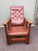 Arts & Crafts Oak & Leather Reclining Armchair (2 of 10)