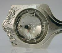 Stunning Arts & Crafts Nouveau Sterling Silver Tea Strainer Plannished c.1900 (6 of 7)