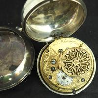 Antique Silver Pair Case Pocket Watch Fusee Verge Escapement Key Wind Enamel Dial W J Wolverhampton (3 of 11)