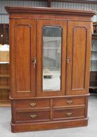 1900's Mahogany 2 Door Mirrored Wardrobe with Drawers at Base. All Hanging
