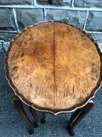 Antique Burr Walnut Nest of 3 Tables (9 of 9)