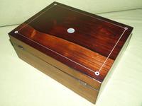 Unisex Inlaid Rosewood Jewellery Box + Tray. c1850 (8 of 13)