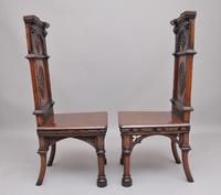 Near Pair of 19th Century Carved Oak Gothic Hall Chairs (3 of 12)