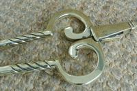Fine Pair of Antique Georgian Brass Fire Irons Companion Set Poker Tongs (9 of 10)