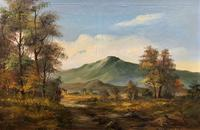Large Early 20th Century Antique English Autumn Countryside Landscape Oil Painting (2 of 11)
