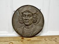19th Century Cast Iron Portrait Plaque of Christoper Columbus 1451-1506 (6 of 7)