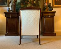 Exceptional Pair of Mahogany Inlaid Linen Silk Upholstered Bergere Armchairs (9 of 12)