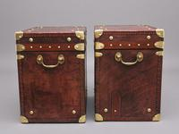 Pair of Early 20th Century Leather Bound ex Army Trunks (6 of 11)