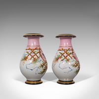 Antique Pair of Peony Vases, French, Decorative Ceramic Urn, Victorian c.1890 (3 of 12)