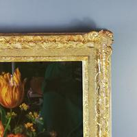 19th Century Victorian Reverse Glass painting Still Life of Floral design (5 of 8)