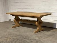 Bleached Oak French Trestle End Farmhouse Dining Table (7 of 28)