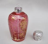 Edwardian Silver Mounted Enamelled Glass Scent Bottle by William Comyns, London 1903 (5 of 6)