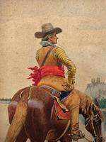 Exceptional Quality 19th Century Miniature Watercolour Painting of Horseman - Cowboy (4 of 11)