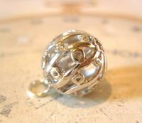 Victorian Revival Pocket Watch Chain Fob 1970s Vintage Puffy Chrome Ball Fob (5 of 6)