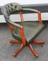 1960s Mahogany Green Leather Swivel Office Chair (2 of 3)