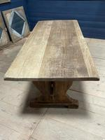 Larger French Bleached Oak Trestle Farmhouse Dining Table (10 of 21)